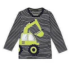 bluezoo - Boy's blue digger applique long sleeve t-shirt