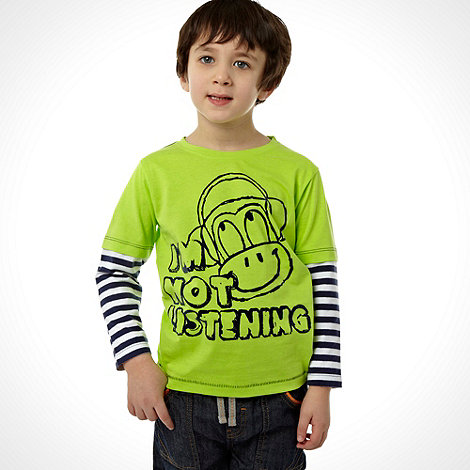 bluezoo - Boy+s green long sleeved monkey top