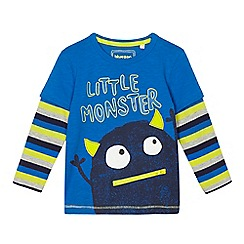 bluezoo - Boys' blue 'Little monster' printed mock sleeve top