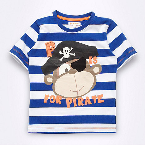 bluezoo - Boy+s blue striped pirate monkey t-shirt