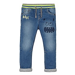 bluezoo - Boys' blue jersey lined monster print jeans