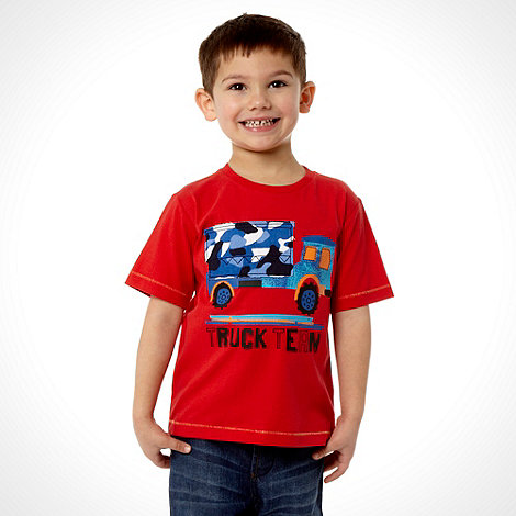 bluezoo - Boy+s red camo truck tee