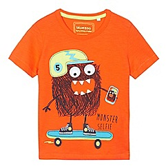 bluezoo - Boys' orange skating monster print t-shirt