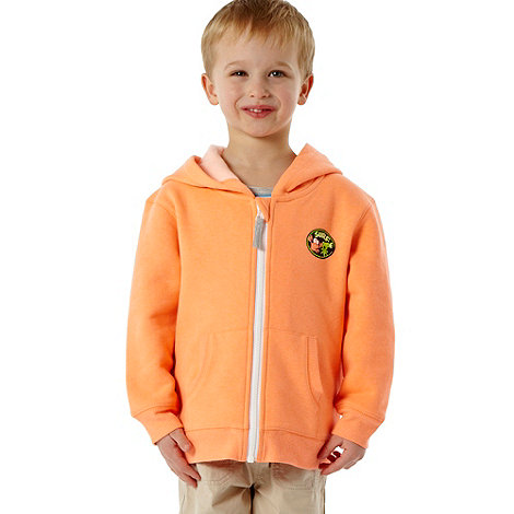 bluezoo - Boy+s orange neon zip through hoodie