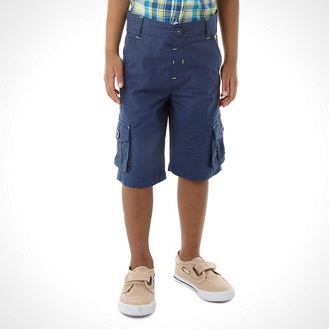 bluezoo - Boy+s blue poplin cargo shorts