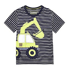 bluezoo - Boys' blue striped digger applique t-shirt