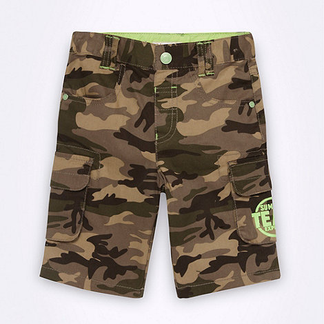 bluezoo - Boy+s green camo printed shorts
