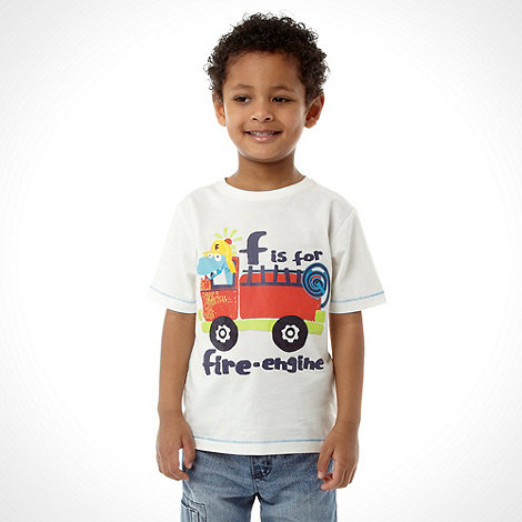 bluezoo - Boy+s white +Fire engine+ t-shirt