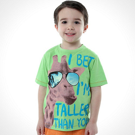 bluezoo - Boy+s green giraffe printed top
