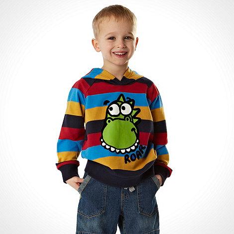 bluezoo - Boy+s blue multi striped dinosaur sweat hoodie