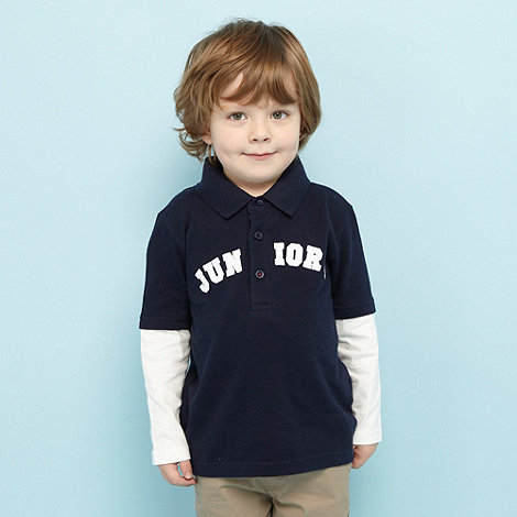J by Jasper Conran - Designer boy+s navy mock sleeve logo polo top