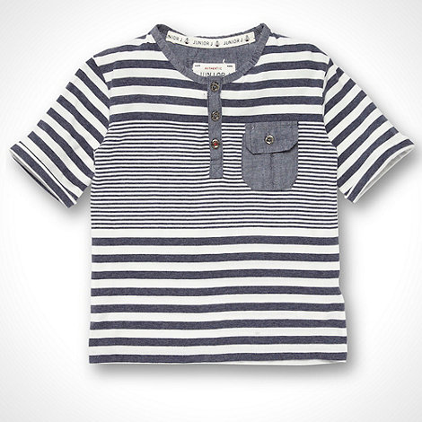 J by Jasper Conran - Designer boy+s navy multi striped chambray trimmed t-shirt