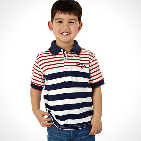 J by Jasper Conran - Designer boy+s navy striped logo polo shirt
