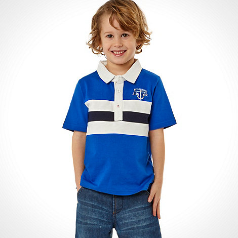 J by Jasper Conran - Designer boy+s blue block striped polo shirt
