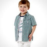 Designer boy's green checked shirt and sail t-shirt