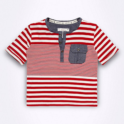 J by Jasper Conran - Designer boy+s red striped chambray pocket t-shirt
