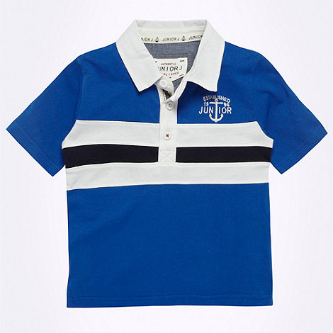 J by Jasper Conran - Designer boy+s blue appliqued striped rugby shirt