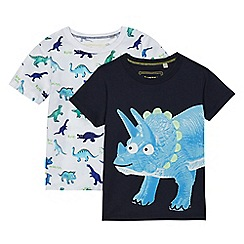 bluezoo - Pack of two boys' navy and white dinosaur print t-shirts