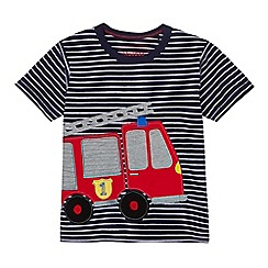 bluezoo - Boys' navy striped fire engine t-shirt