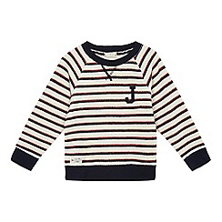 J by Jasper Conran - Boys' navy crew neck striped sweater