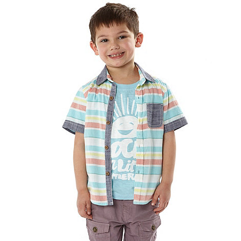RJR.John Rocha - Designer boy+s blue horizontal striped shirt set