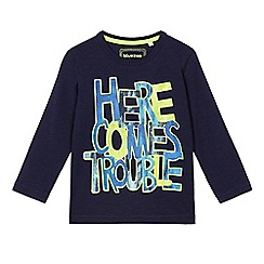 bluezoo - Boys' navy 'Here comes trouble' slogan print t-shirt