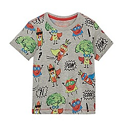 bluezoo - Boys' grey superhero vegetable print t-shirt