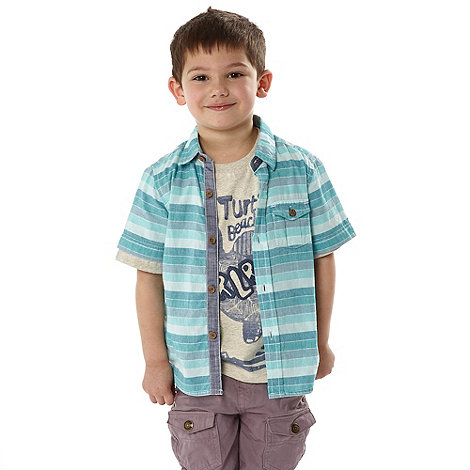 RJR.John Rocha - Designer boy+s blue striped shirt and t-shirt set