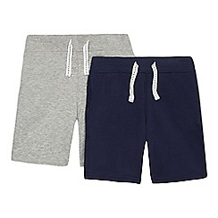 bluezoo - Pack of two boys' navy and grey jersey shorts