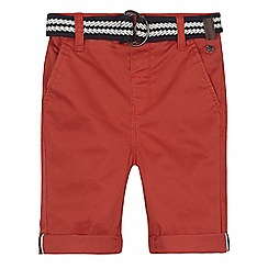 J by Jasper Conran - Red stretch chino shorts with belt