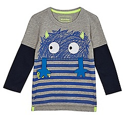 bluezoo - Boys' grey monster print mock sleeve top