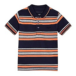 bluezoo - Boys' navy and orange striped polo shirt