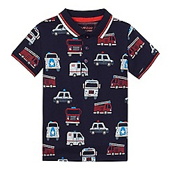 bluezoo - Boys' navy transport print polo shirt
