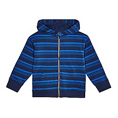 bluezoo - Boys' blue striped zip through hoodie