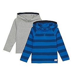 bluezoo - Pack of two boys' blue and grey striped hooded sweaters