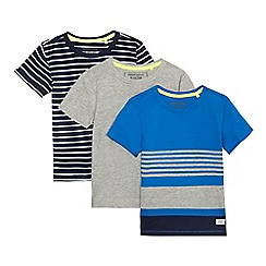 bluezoo - Pack of three boys' assorted plain and striped t-shirts