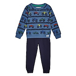 bluezoo - Boys' blue tractor print sweater and joggers set