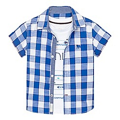 J by Jasper Conran - Boys' white printed t-shirt and blue checked shirt set