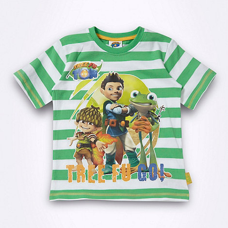 Tree Fu Tom - Boy's green striped 'Tree Fu Tom' t-shirt