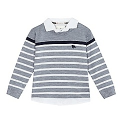 J by Jasper Conran - Boys' grey striped print mock sweater and shirt