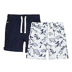 bluezoo - Pack of two boys' navy and dinosaur print shorts