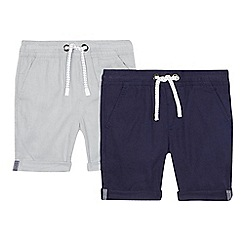 bluezoo - Pack of two boys' grey and navy linen blend shorts