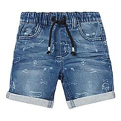 bluezoo - Boys' blue laser print denim shorts