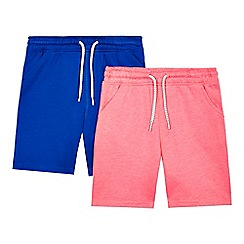 bluezoo - Pack of two boys' pink and blue jersey shorts