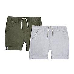 Mantaray - Pack of two boys' green and grey shorts
