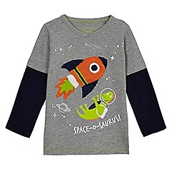 bluezoo - Boys' grey space rocket applique t-shirt