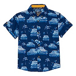 Mantaray - Boys' blue car print shirt