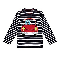 bluezoo - Boys' navy striped car applique t-shirt