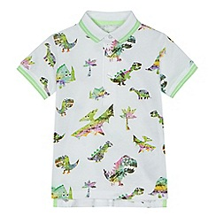 bluezoo - Boys' white dinosaur print polo shirt