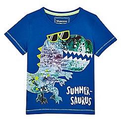 bluezoo - Boys' blue dinosaur applique t-shirt